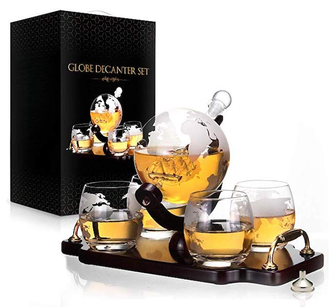 Antique Globe Decanter Set (For the man who has everything)- best gift for men - northpolestar.com