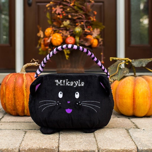 Black Cat Personalized Trick or Treat Basket - Halloween gift ideas for little girls