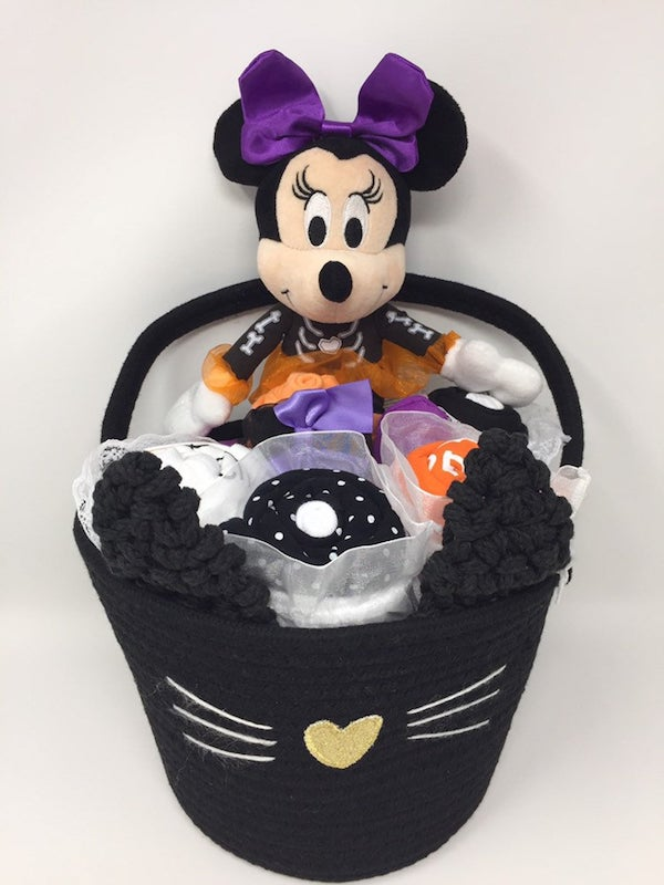 Halloween themed, Minnie Mouse Baby gift set - baby girl halloween gift basket idea
