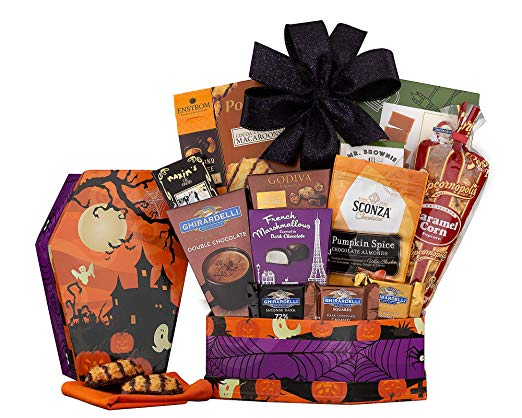 Halloween wine chocolate and sweets gift basket idea for adults