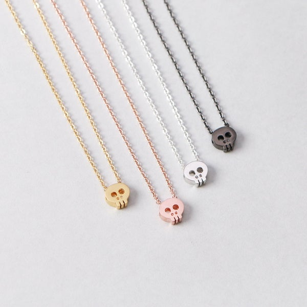 Tiny Skull Necklace gift idea for her in halloween