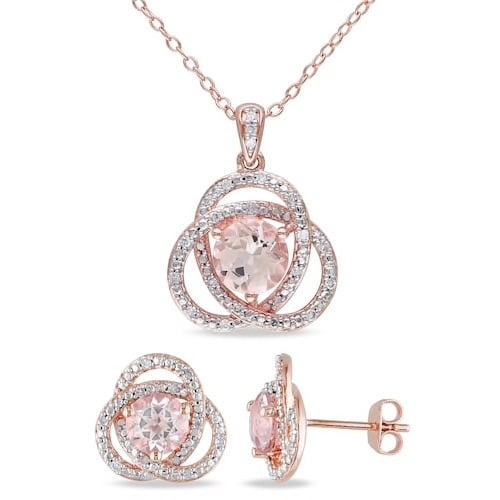 Stella Grace 18k Rose Gold Over Silver 1/5 Carat T.W. Diamond & Morganite Pendant & Earring Set