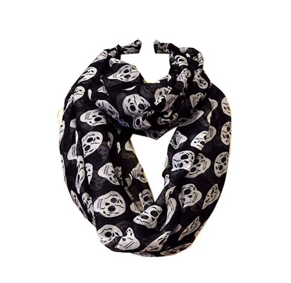 scarf with skeletons and skulls halloween gift idea for her