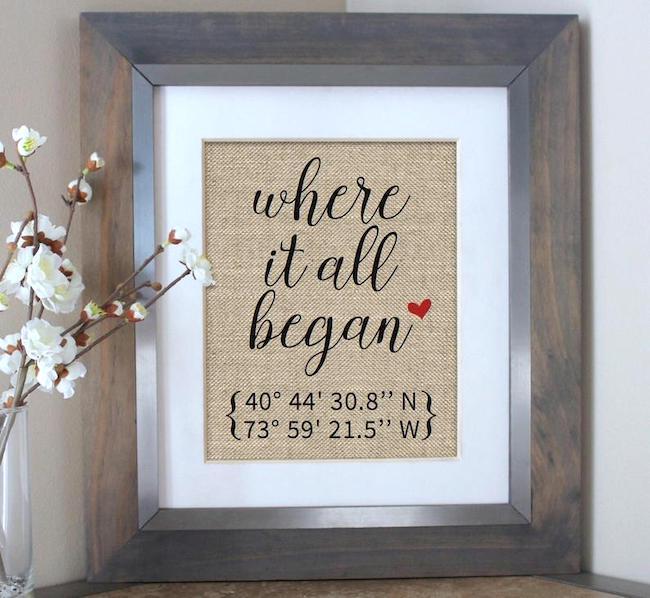 Where it all began burlap print - Best Valentine's day Gift for Him | For Men - Northpolestar.com