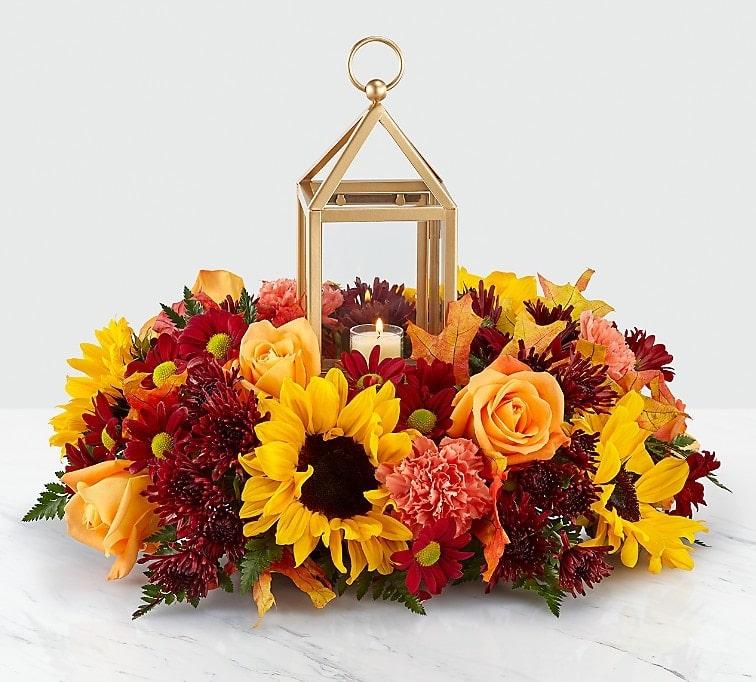 Giving Thanks Lantern Centerpice Flower