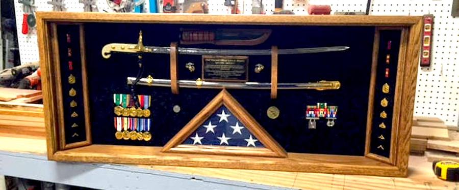 Military Sword Shadow box Display Case - Gift idea for marines