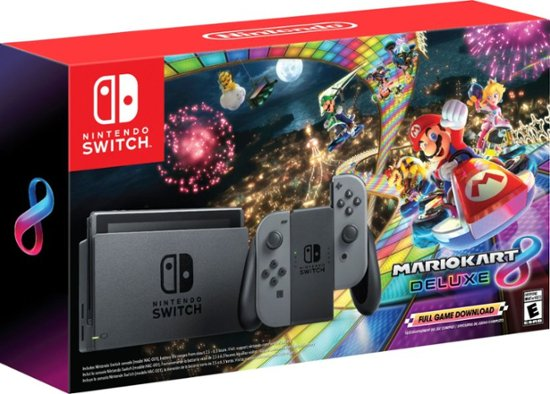 Nintendo - Switch with Mario Kart 8 Deluxe Console Bundle