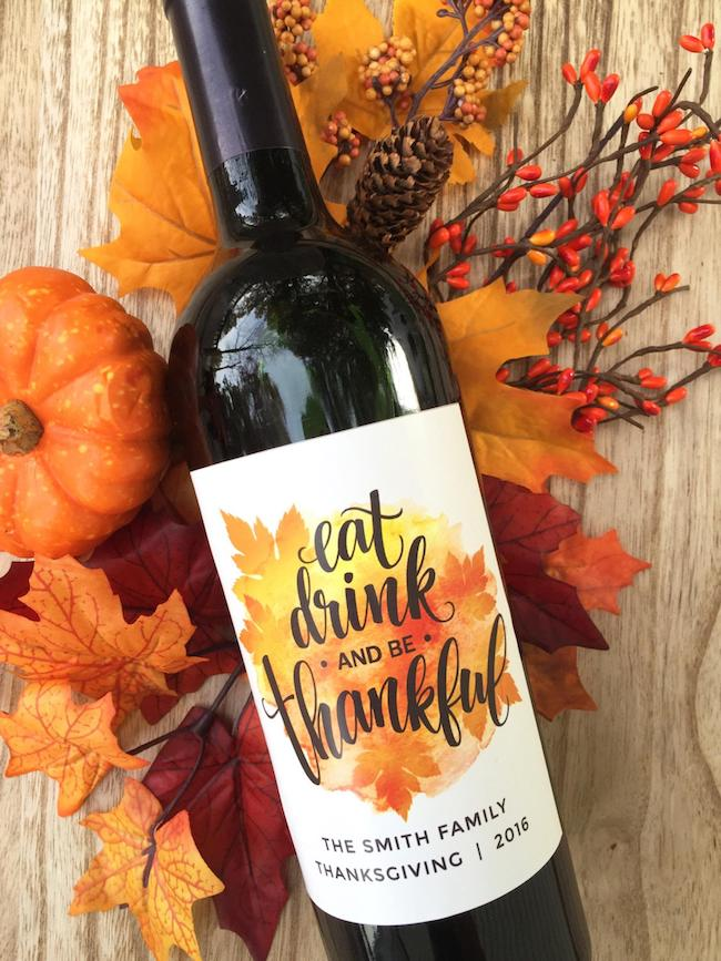Eat, Drink and Be Thankful Thanksgiving Wine Labels