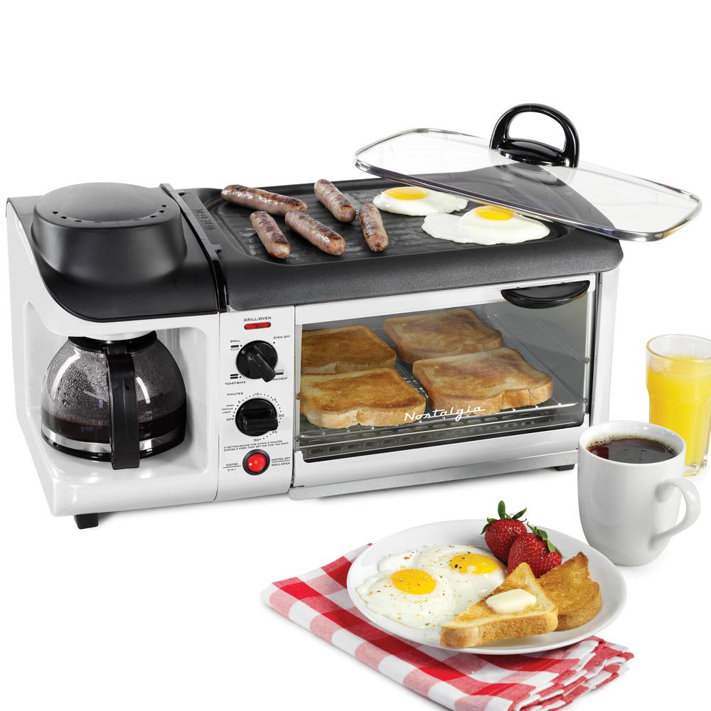 Nostalgia Retro 3-In-1 Breakfast Station in White gift idea for mom, mothers day, Christmas, Mother-in-law, chefs, cooks