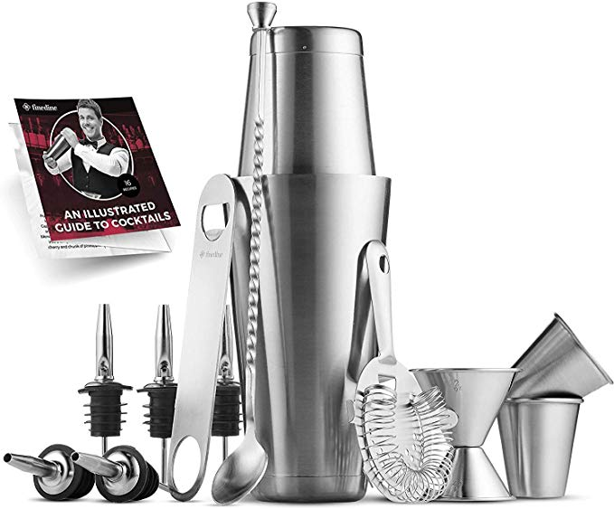 Premium Cocktail Shaker Bar Tools Set (14 piece) Brushed Stainless Steel Bartender Kit, with All Bar Accessories