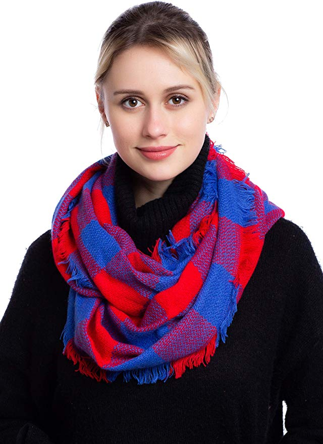 Seven Flowers Plaid Knitted Infinity Scarf gift idea for women, girls, mothers, mother-in-law