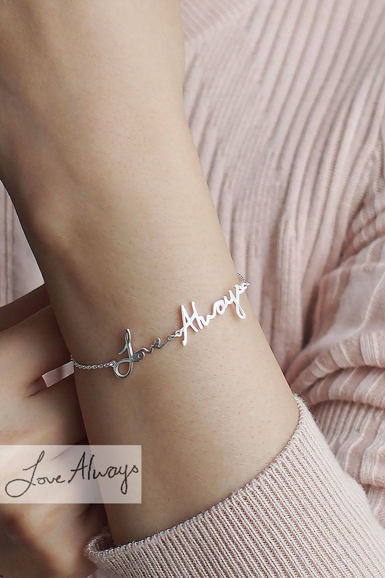 Custom Actual Handwriting/Signature Bracelet Christmas gift for her