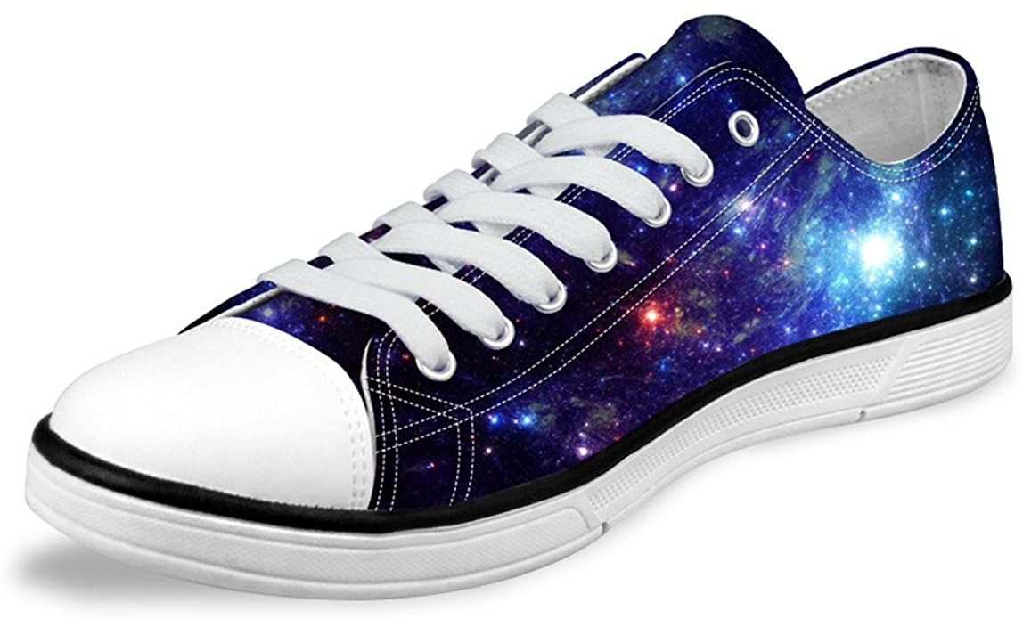 FOR U DESIGNS Stylish Unisex Galaxy Print Fashion Sneaker Casual Lace-up Low Top Flat Shoes