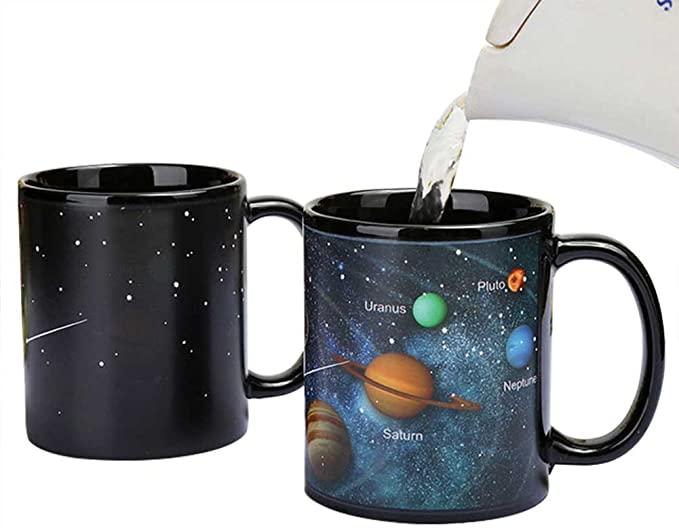 Heat Changing Solar System Magic Coffee Mug Heat Sensitive Porcelain Tea Cup