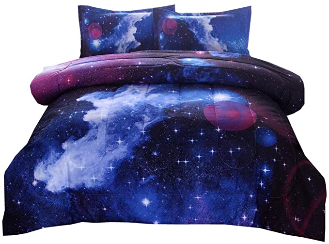 NTBED Galaxy Comforter Set Full Size with 2 Matching Pillow Shams