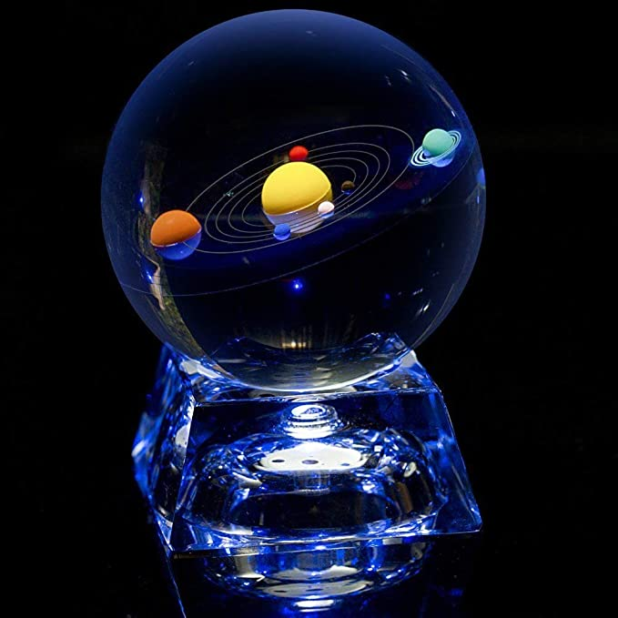 Erwei Solar System Mini Crystal Ball (3 in) with Crystal LED Base - Colorful Cosmic Model