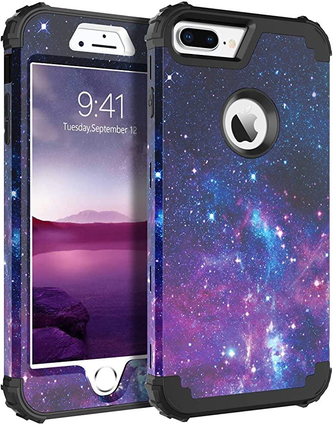 BENTOBEN Heavy Duty Shockproof 3 in 1 Galaxy Design iPhone Case