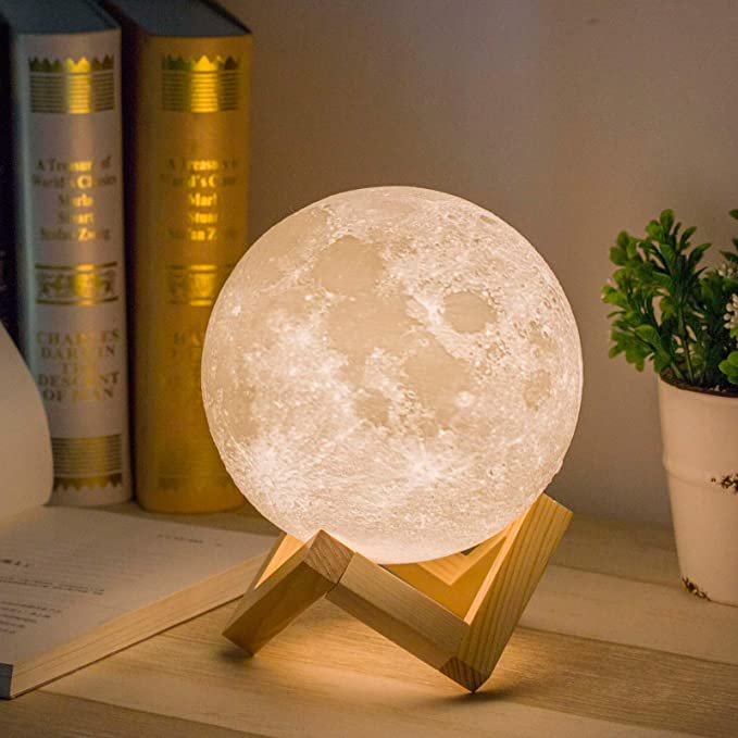 Mydethun 3D Printed Moon Lamp with USB Charging and Touch Control Brightness