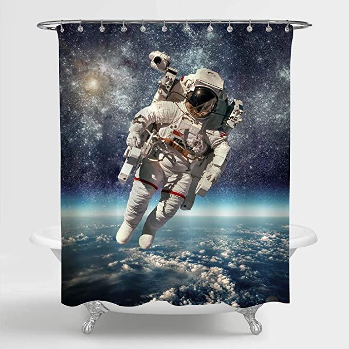 MitoVilla NASA Astronaut in Outer Space Scenic Shower Curtain