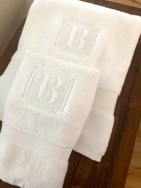 Monogrammed Embossed towel set gift idea for bridesmaid