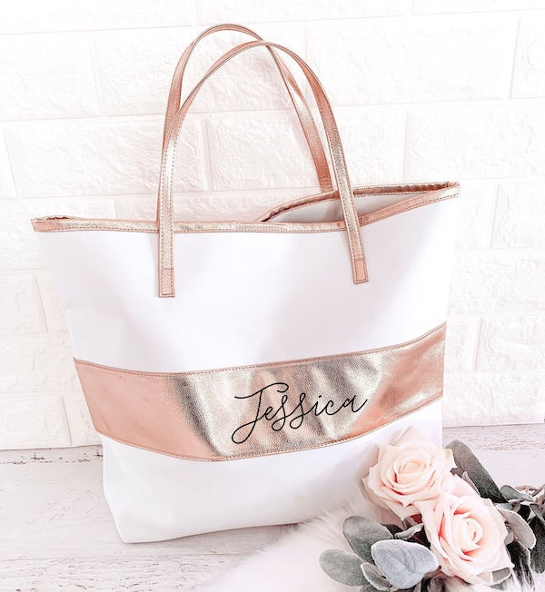 Personalized Bridesmaid Rose Gold Tote Bag