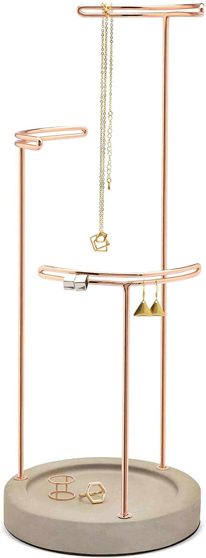 Umbra Tesora, 3 Tier Jewelry Stand, Earring Holder, Accessory Organizer and Display, Concrete/Copper gift idea for teenage girls