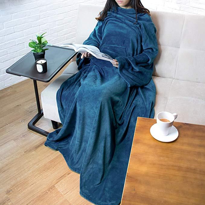 PAVILIA Premium Fleece Blanket with Sleeves for Adult