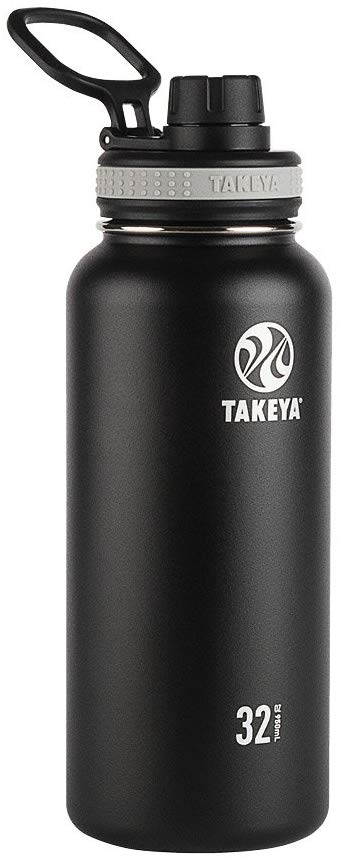 Takeya Black Originals Vacuum-Insulated Stainless-Steel Water Bottle, 32oz