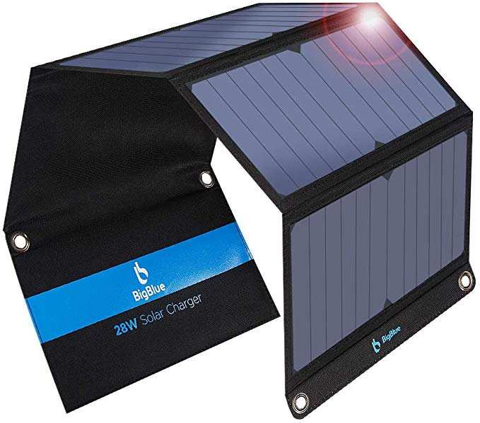 BigBlue 3 USB Ports 28W Solar Charger, 5V Foldable Waterproof Portable Solar Phone Charger for Outdoor Camping