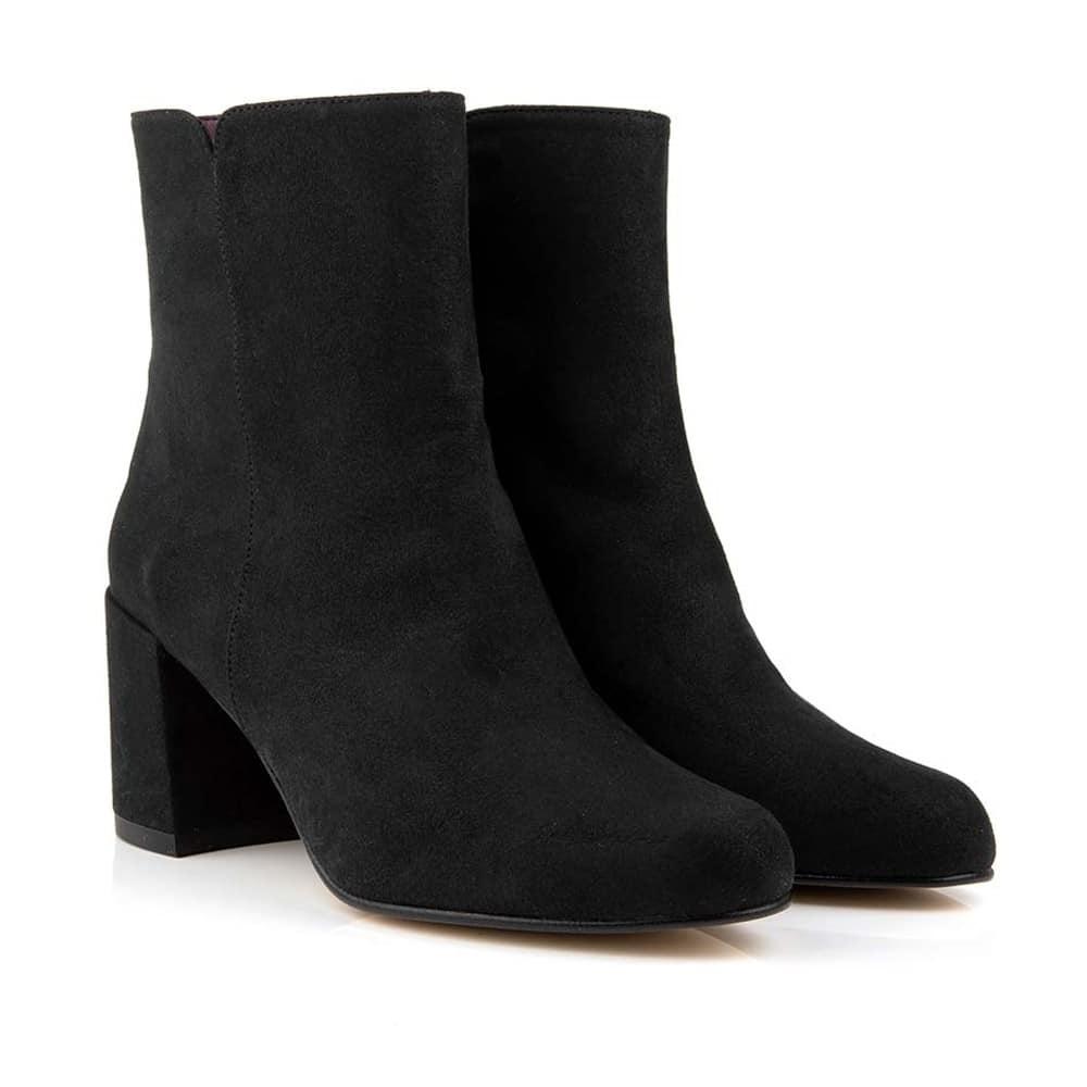 Pammie Black Faux Suede Vegan Ankle Boots