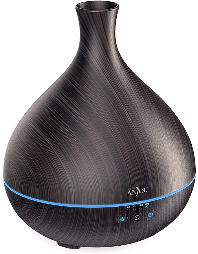 Anjou 500ml BPA Free Cool Mist Humidifier Wood Grain Aromatherapy Diffuser with 7 Color Changing Night for 12hrs of Continuous Quiet Diffuser Aroma