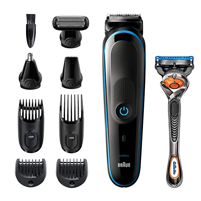 Braun All-in-one trimmer MGK5280, 9-in-1 Beard Trimmer, Hair Clipper, Ear and Nose Trimmer, Body Groomer, Detail Trimmer, Rechargeable, with Gillette ProGlide Razor