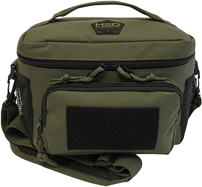 HSD Lunch Bag, Insulated Cooler, Thermal Lunch Box Tote with MOLLE/PALS Webbing, Adjustable Padded Shoulder Strap, for Tactical Men Women Adults and Boys Girls Kids (Ranger Green)