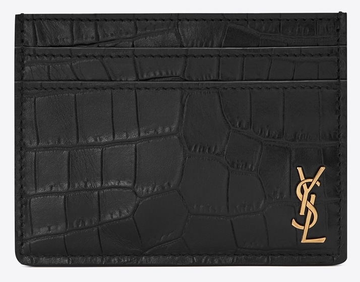Saint Laurent Tiny Monogram Card Case In Crocodile Embossed Matte Leather