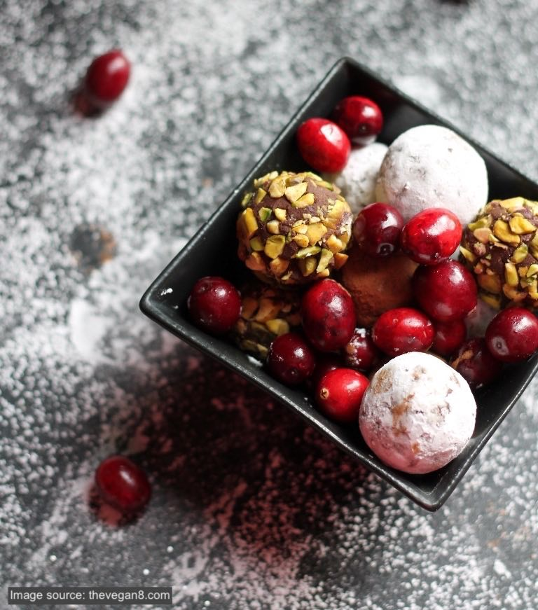 Vegan Cranberry Crunch Dark Chocolate Truffles