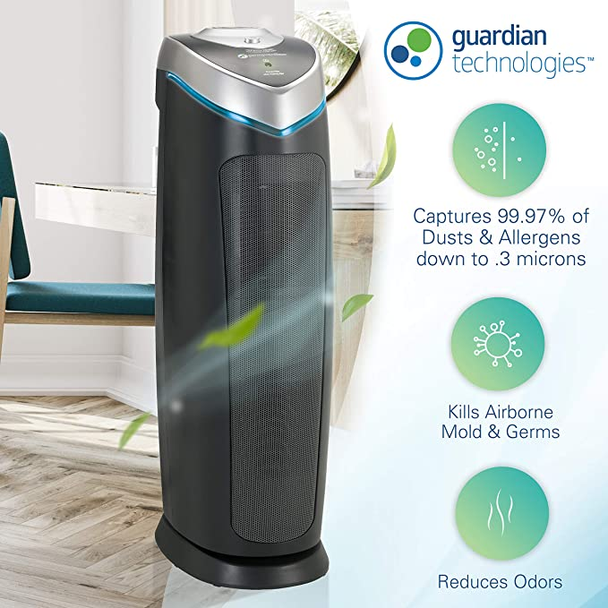 Gifts for cancer patients - Germ Guardian True HEPA Filter Air Purifier with UV Light Sanitizer