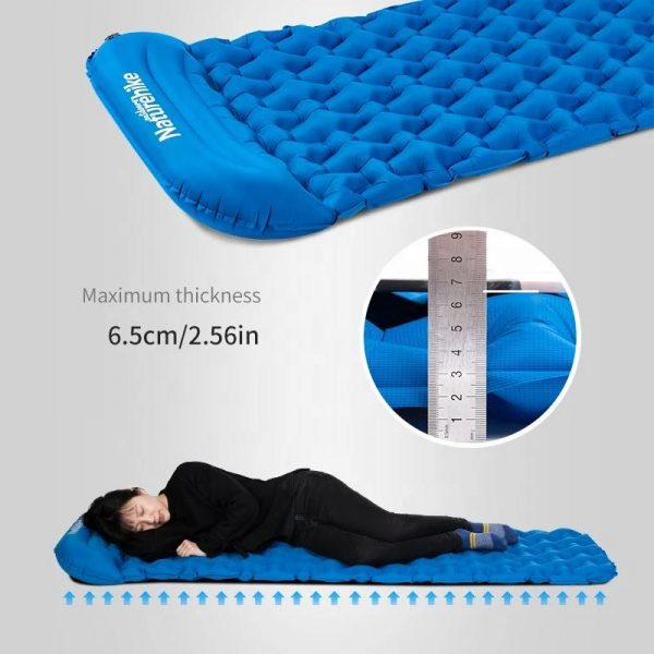 Naturehike Inflatable Backpacking Sleeping Pad for Hiking, Traveling Maximum Thickness 2.56""