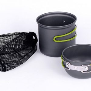 Ultra-light Aluminum Alloy Camping Cookware Utensils Outdoor Cooking Bowl Foldable handle 2PCS Camping Hiking and Picnic Pot