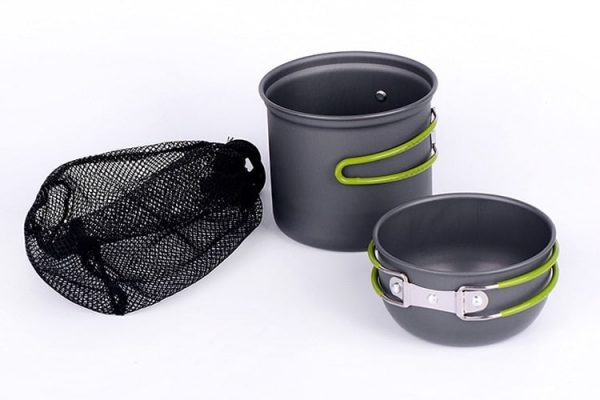 Ultra-light Aluminum Alloy Camping Cookware Utensils Outdoor Cooking BowlFoldable handle 2PCS Camping Hiking and Picnic Pot
