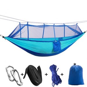 1-2 Person Portable Outdoor Camping Hammock with Mosquito Net - Lightweight Portable Hammocks for Indoor, Outdoor, Hiking, Camping, Backpacking, Survival & Travel, Patio, Backyard, Beach