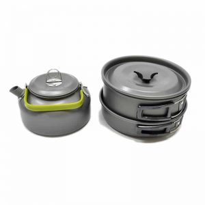 Ultra-light Aluminum Alloy Camping Cookware Utensils Outdoor Cooking Teapot Picnic Tableware Kettle Pot Frying Pan Non-Stick 7 Piece