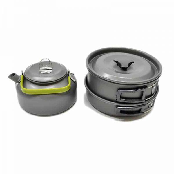 Ultra-light Aluminum Alloy Camping Cookware Utensils Outdoor Cooking Teapot Picnic Tableware Kettle Pot Frying Pan Non-Stick 7 Piece