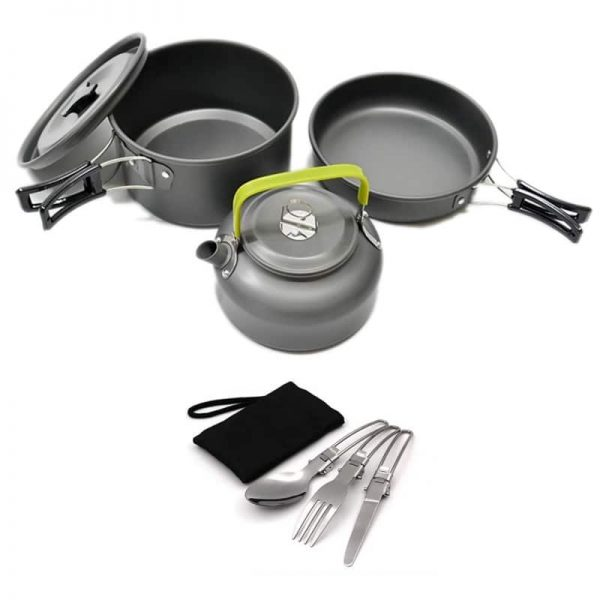 7pcs Camping Cookware Mess Kit, Lightweight Pot Pan Kettle, Fork Spoon Kit for Backpacking, Outdoor Camping Hiking and Picnic