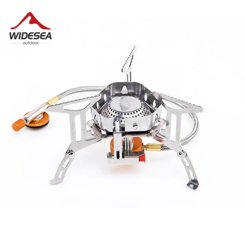 Widesea Windproof outdoor gas burner camping stove 3500W with Piezo Ignitiontourist equipment kitchen cylinder propane grill hiking backpacking picnic cooking