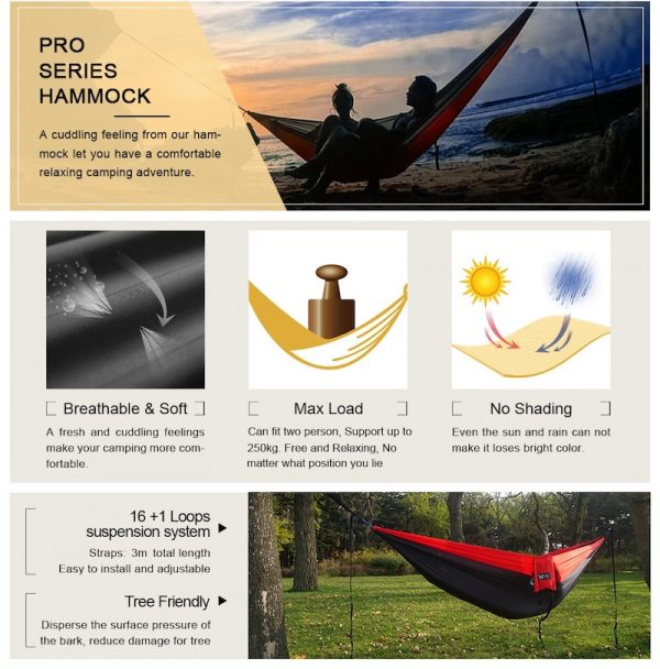 Lightweight Parachute Portable Hammocks for Hiking, Travel, Backpacking, Beach, Survival & Travel, Patio, Indoor, Outdoor