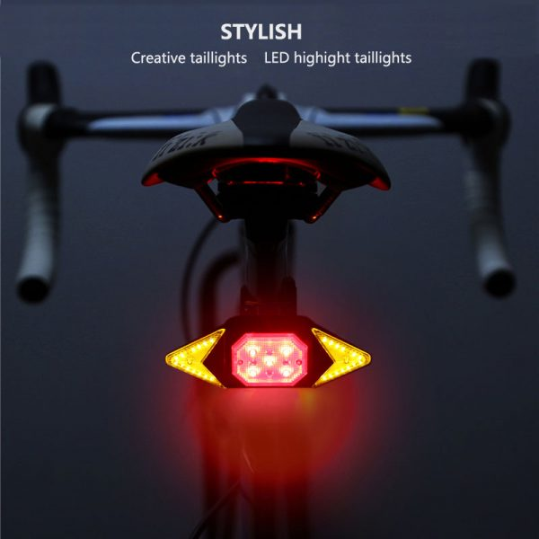 VASTFIRE Bike Tail Light with Turn Signals Wireless Remote Control Red Rear Light USB Rechargeable Cycling Back Light fit Mountain Road Commuting Bicycle