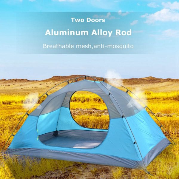 Desert&Fox Backpacking Camping Tent, Lightweight 1 Person Tent Double Layer Waterproof Portable Aluminum Poles Travel Tents