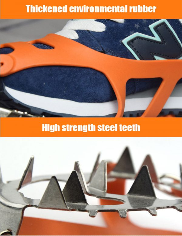 18 Teeth Outdoor Climbing Anti Skid Crampons Winter Walk Ice Fishing Snow Shoes Manganese Steel Shoe Covers Ice Cleats Traction Snow Gripsfor Outdoor Mountaineering Hiking Walking