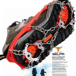 18 Teeth Outdoor Climbing Anti Skid Crampons Winter Walk Ice Fishing Snow Shoes Manganese Steel Shoe Covers Ice Cleats Traction Snow Grips for Outdoor Mountaineering Hiking Walking