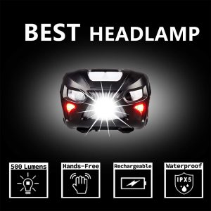 Naturehike 500 Lumens LED Headlamp - Rechargeable Waterproof 8 Mode With PouchPortable Headlamp ForCamping Running Hiking NH18LHL2-B
